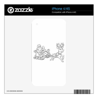 Santa Claus Christmas Fling Sleigh Sled Reindee Decal For iPhone 4S