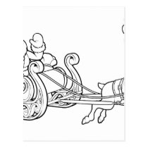 Santa Claus Christmas Fling Sleigh Sled Reindee Postcard