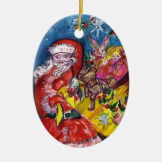 SANTA CLAUS, CHRISTMAS GIFTS AND TOYS Red Ruby Gem Ceramic Ornament