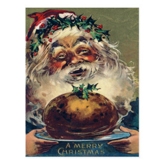Santa Claus Christmas Ham Holly Postcard