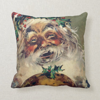 Santa Claus Christmas Ham Holly Throw Pillow