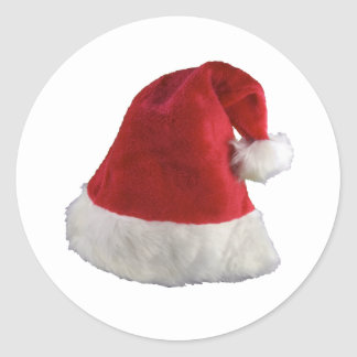 Santa Claus Christmas Hat Classic Round Sticker