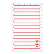 Santa Claus Christmas Holiday Red Lined Stationery