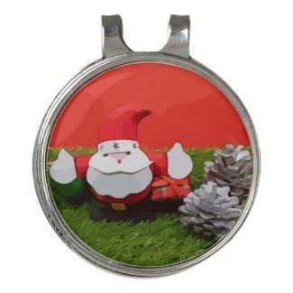 Santa Claus Christmas Holiday with ornament Golf Golf Hat Clip