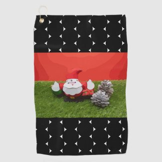 Santa Claus Christmas Holiday with ornament Golf Towel