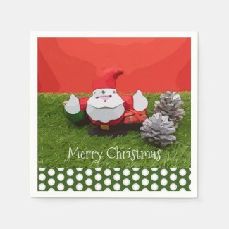 Santa Claus Christmas Holiday with pine cone Napkins