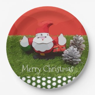 Santa Claus Christmas Holiday with pine cone Paper Plate