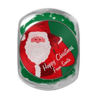 Santa Claus Christmas holidays candy gift tin Glass Jar