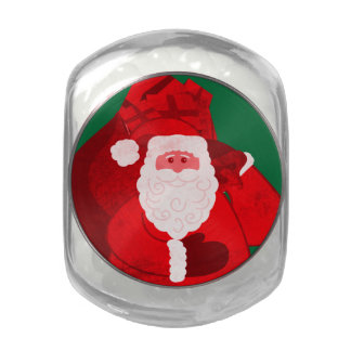 Santa Claus Christmas holidays candy gift tin Jelly Belly Candy Jar