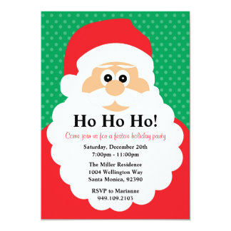 "Santa Claus Christmas Party Invitation 5"" X 7"" Invitation Card"