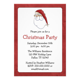 Santa Claus Christmas Party Invitations