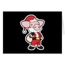 santa claus christmas pig card