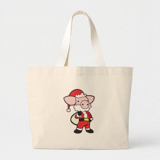santa claus christmas pig tote bag