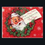 "Santa Claus Christmas Postcard Wreath<br><div class=""desc"">Santa Claus Postcard Wreath retro Vintage style</div>"