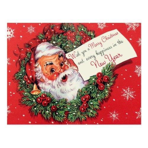 Santa Claus Christmas Postcard Wreath