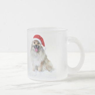 Santa Claus Christmas puppy Frosted Glass Coffee Mug