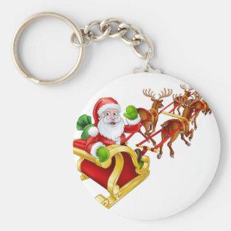 Santa Claus Christmas Reindeer and Sled Sleigh Keychain