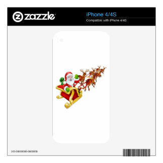 Santa Claus Christmas Reindeer and Sled Sleigh Skin For The iPhone 4S