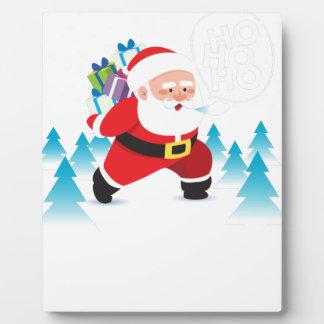 santa claus christmas reindeer snow man plaque