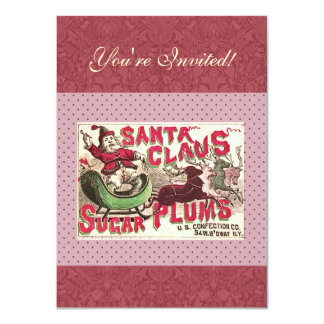 Santa Claus Christmas Sugar Plum Candy Personalized Invite