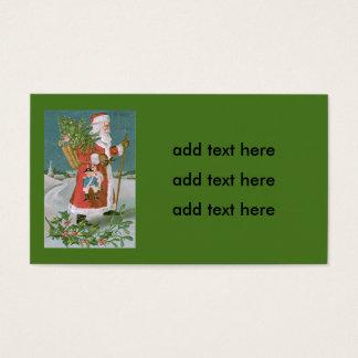 Santa Claus Christmas Tree Basket Toys Holly Business Card