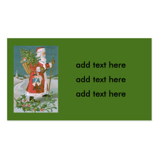 Santa Claus Christmas Tree Basket Toys Holly Double-Sided Standard Business Cards (Pack Of 100)