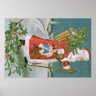 Santa Claus Christmas Tree Basket Toys Holly Poster