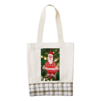 Santa Claus Christmas tree decoration Zazzle HEART Tote Bag
