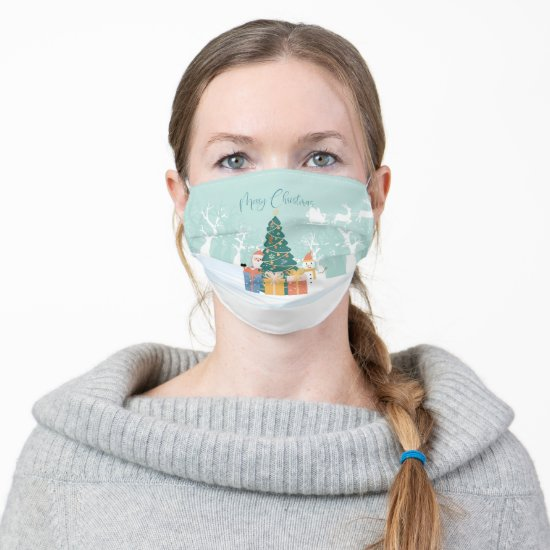 Santa Claus, Christmas Tree, Reindeer, Snow, Gifts Adult Cloth Face Mask