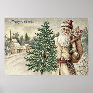 Santa Claus Christmas Tree Sack of Toys Church Poster