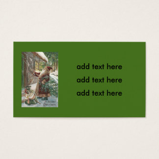 Santa Claus Christmas Tree Sack of Toys Cottage Business Card
