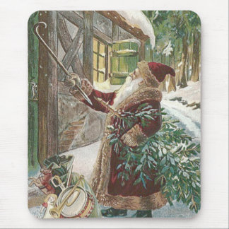 Santa Claus Christmas Tree Sack of Toys Cottage Mouse Pad