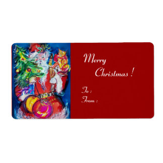 SANTA  CLAUS ,CHRISTMAS TREE TOYS AND GIFTS LABEL