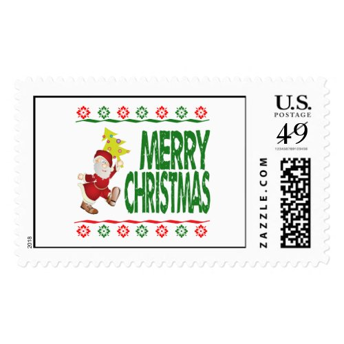 Santa Claus Christmas Tree Ugly Xmas Sweater Stamp