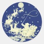 Santa Claus Christmas Vintage Postcard Art Classic Round Sticker