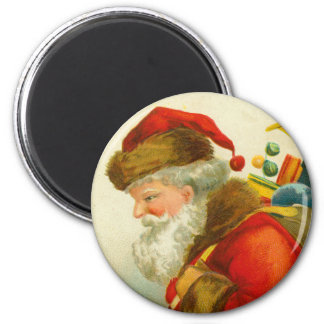 Santa Claus Christmas Vintage Style 2 Inch Round Magnet