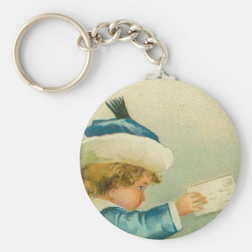 Santa Claus Christmas Vintage Style Basic Round Button Keychain
