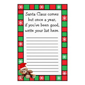 Santa Claus Christmas Wishes List for Kids