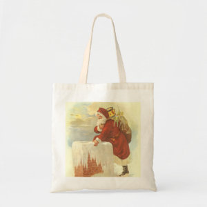 Santa Claus Climbing Down the Chimney with Toys bag