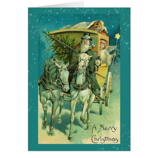 Santa Claus Coach Christmas Eve Card