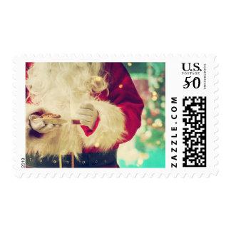 Santa Claus Cookies Milk Christmas Postage Stamps