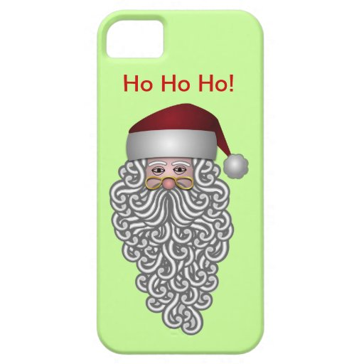 Santa Claus Cool Curly Beard and Hat Christmas iPhone 5 Case