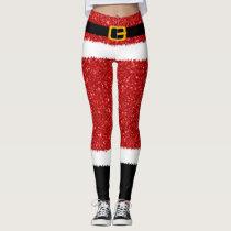 Santa Claus Costume Glitter Christmas Leggings