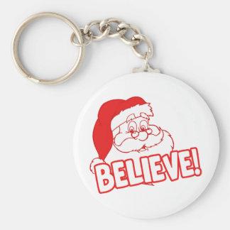 ¡Santa Claus cree! Llavero Redondo Tipo Pin