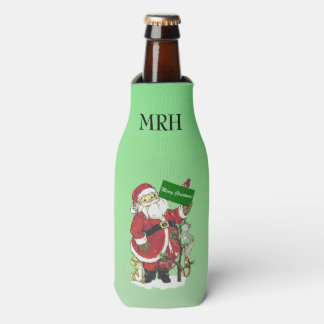 Santa Claus Cute Animals Merry Christmas Bottle Cooler