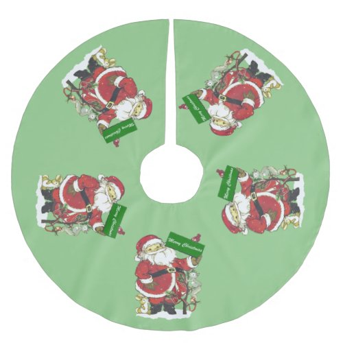 Santa Claus Merry Christmas Brushed Polyester Tree Skirt