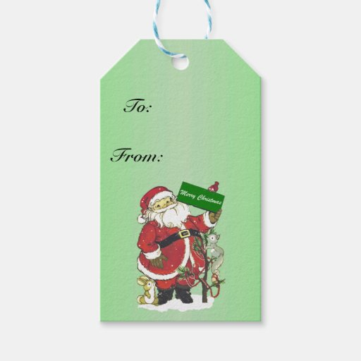 Santa Claus Cute Animals Merry Christmas Gift Tags | Zazzle