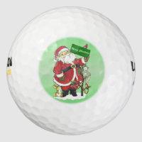 Santa Claus Cute Animals Merry Christmas Golf Balls