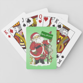 Santa Claus Cute Animals Merry Christmas Playing Cards
