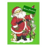 Santa Claus Cute Animals Merry Christmas Postcard